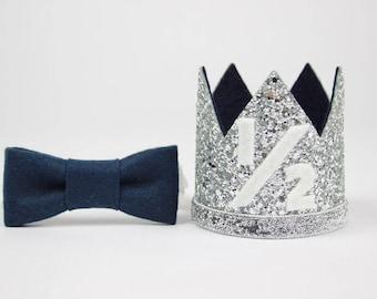 1/2 Birthday Outfit Boy   Boy Birthday   Crown   Baby Boy Birthday Party Hat   First Birthday Crown   1st Birthday Hat   Silver + Navy 1/2