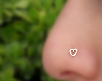 Nose Stud - Nose Ring - Nose Piercing - Tragus Earring - Nose Jewelry - Valentine Heart Nose Ring Stud - 14K Rose Gold Filled Heart Shape