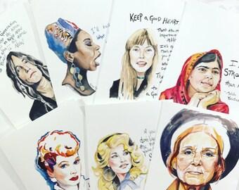 Set of Inspiring Women Greeting cards, 5x7 card, Ready to Ship, Inspiring Quotes
