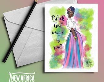 "Melanin Squad Greeting Card ""Ebony"", A7, Black Greeting cards"