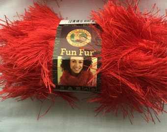 RED FunFur by Lion Brand Yarn   RED Eyelash Yarn  Novelty Yarns