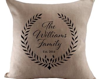 Custom Family Name Cushion Cover - Choose Your Fabric - 18x18