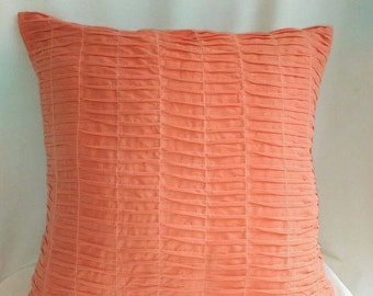 coral orange  pleated pillow, pin tuck pillow, coral pink cushion cover, decorative cushion, 18x18 inches throw pillow.