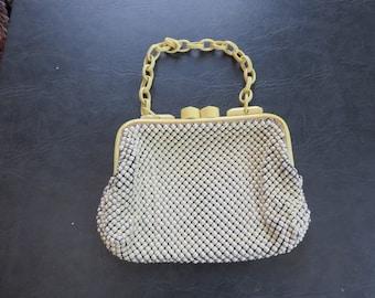 Whiting & Davis Co white bead evening handbag 1930-40s era