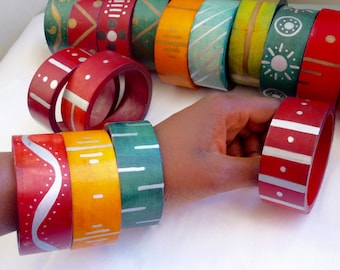 GREEN wooden bangles - hand-painted and hand-dyed
