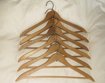 6 Simple Thick Vintage Wooden Clothes Hangers