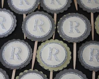 Monogram Cupcake Toppers