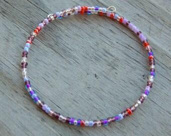 Purple - Berry Beaded Memory Wire Bracelet