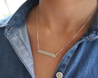 Bar Necklace, Silver Bar Necklace, Personalized Necklace, Silver Layering Necklace, Name Necklace, Dainty Gold Necklace, Bridesmaid Gift.
