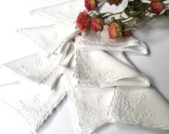 8 Vintage Linen Initial R Napkins with White Hand Embroidery