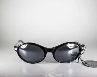 OXYDO Vintage Sunglasses Unisex Black Metal Plastic Oval 1990s OXYS187E-1