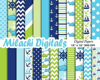 60% OFF SALE Whale digital paper, nautical scrapbook papers, sailboat wallpaper, pirate background - M379