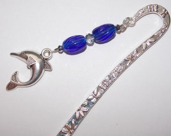 Cobalt Blue Silver Dolphin Bookmark