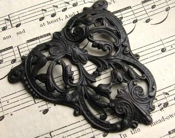 Art Nouveau Crest - black antiqued brass - aged black patina, 46mm dark dapt triangle filigree ornament,  made in USA, lead nickel free