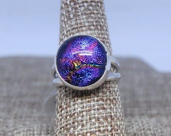Purple Dichroic Glass and Sterling Silver Ring size 8