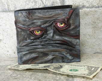 Leather Wallet Zombie Fathers Day Gift Monster Face Fantasy Magic The Gathering Horror World Of Warcraft Black 560