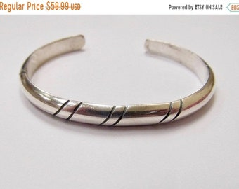 On Sale Vintage Hand Wrought Sterling Silver Cuff Bracelet Item K # 2563
