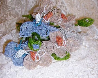Gorgeous Vintage French Beaded Flowers Bouquet/French Beaded Flowers