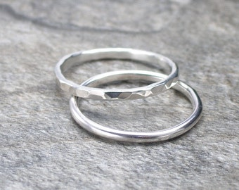 Silver Band Ring, Hammered Ring or Plain Ring