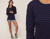 Long Sleeve TShirt Striped Shirt Retro Top Navy Blue Tshirt Hipster Retro Tee Basic Medium Large