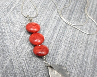 On Sale: 20% off. Silver Pendant with 3 Red Coral beads and Natural Leaves, Electroforming , Casual, For Any Outfit, Valentine