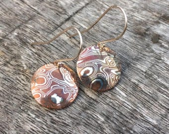 Sterling Silver & Copper Mokume Gane Domed Disc Shaped Earrings
