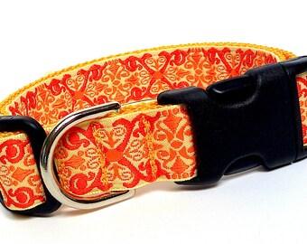 Dog collar, CAMELOT orange, dog tag collar, buckle collar, renaissance collar, medieval dog collar, medieval collar, orange buckle collar