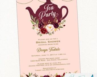 Burgundy Blush Tea Party Bridal Shower Invitation | Tea Party Invitation, Bridal Tea Party, Tea Party Invites, Bordeaux, Wine, Gold, Marsala