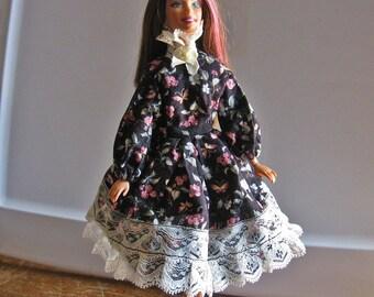 Barbie Dress Black Floral Print with Lace