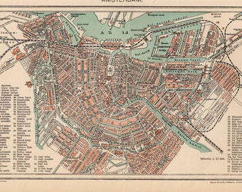Antique city map of Amsterdam, The Netherlands from 1893
