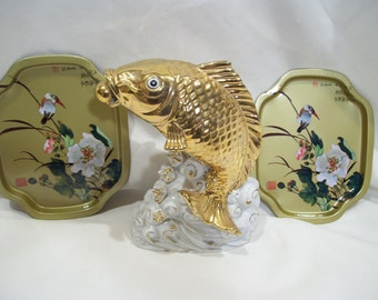 Gold Asian Small Tip Trays with Bird and Floral Design Metal