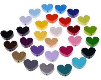 Wooden heart bead