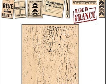 Stamp wood Miscellany Design, made in France, Crackle effect scrapbooking