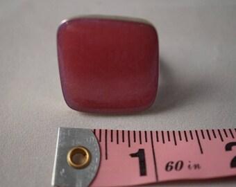Sterling Silver  Oblique Square Resin Ring, Adjustable