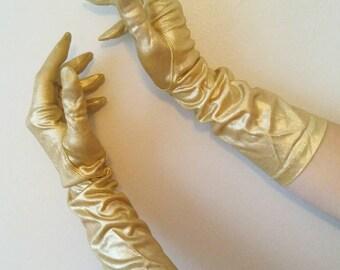 1960s Gold Lurex Evening Gloves, As Found Metallic Gold Gloves, Gold Glitter Evening Gloves, 60s Lurex Gloves, Size 8 Needs TLC