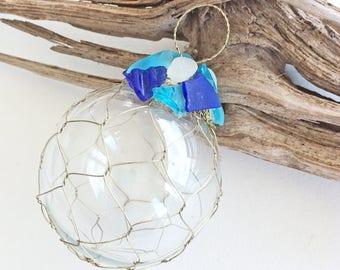 "BEACH CHRISTMAS ORNAMENT, glass/brass netted ornament, sea glass, nautical, coastal, Christmas ornament, beachy ornament, 3.5"""