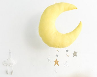 Luxe Cascading Moon Mobile in Yellow Weld Dyed Fabric + Rainbow Silver Leather