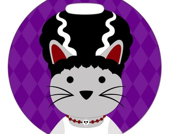 Personalized Luggage Tag / Carry On Bag Tag / Round FRP Plastic / Honeymoon Luggage Tag / Bride of FrankenKitty Cat / 2 Sizes Available