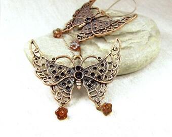 Copper Butterfly earrings.