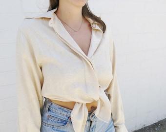 Golden Ecru Jacquard Long Sleeve Collared Button Down Blouse