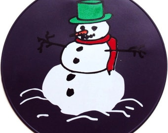 Purple Silicone Snowman Table Trivet, Kitchen Hot Pad, Table Placemat, Table Decor