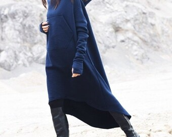 SALE New Navy Extravagant Maxi Asymmetric Hoodie Fall Winter Fleece  Cotton Warm Top with Big Front Pocker HandMade by AAKASHA A08022