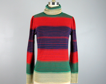 Vintage 1970s Sweater 70s Wool Knit Striped Pullover Sweater by White Stag Size S/M