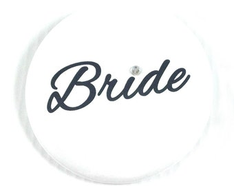 "Bride Button with Rhinestone Accent 2.25"". Wedding Button. Bridal Shower. Bachelorette Party Buttons. Wedding Pins. Wedding Accessory."