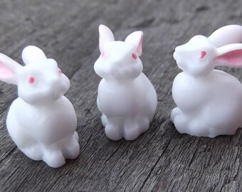 3 Mini Bunnies with Little Pink Ears