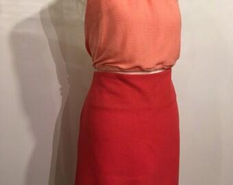 Peach Crepe Wool Skirt, 1960s Mini Styles Skirt