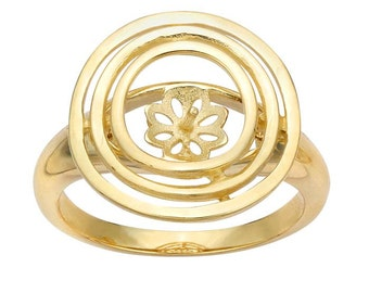 14K Yellow Gold Triple-Circles Pearl Ring Mounting