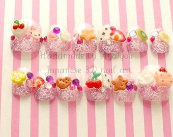 Nails, fake nails, kawaii nails, 3D nails, fake sweets, Harajuku, gift for girl, glittery, french nail, short nails, pop kei, sweet lolita,