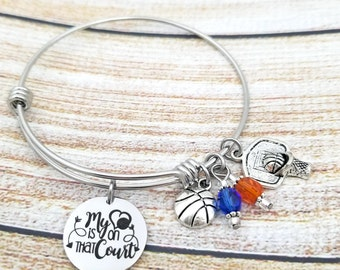 My heart is on the Court Bangle Charm Bracelet, stainless steel, gift for sports mom, gift for her, jewelry for sports parents