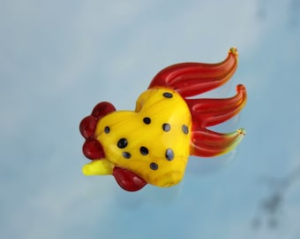 One large yellow lampwork glass rooster bead- bright yellow with black spots and a red tail- chicken bead - loose beads - jewelry and crafts